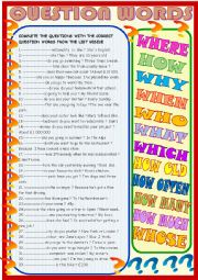 English Worksheet: Question words 2