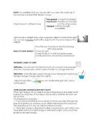 English Worksheet: light