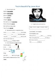 English Worksheet: You are beautiful by James Blunt