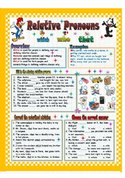 English Worksheet: Realative Pronouns (Who/That/Which)