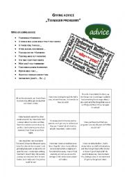 English Worksheet: Giving advice on teenager problems
