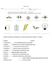 English Worksheet: Electricity test