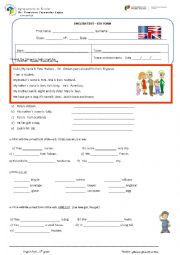 English Worksheet: test 6th form - Personal info