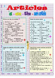 English Worksheet: English definite and indefinite articles