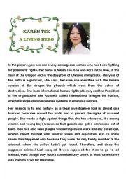English Worksheet: Karen Tse - A living hero
