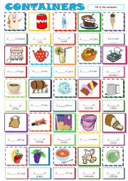 English Worksheet: Containers ***FILL IN***