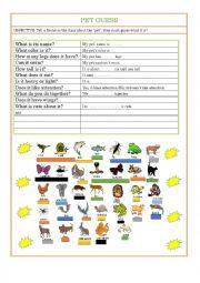 English Worksheet: PET GUESS