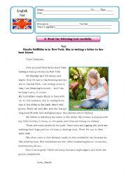 English worksheet: Written test on the