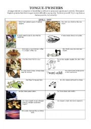 English Worksheet: Tongue-twisters level 1