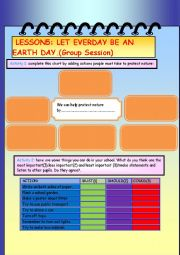 English Worksheet: Group Session Let Every day Be An Earth Day