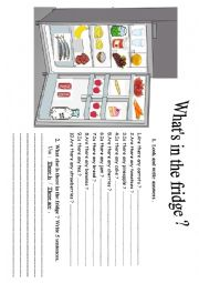 English Worksheet: What�s in the fridge ?