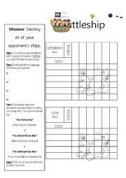 English Worksheet: Clothing & Colors Battleship Board