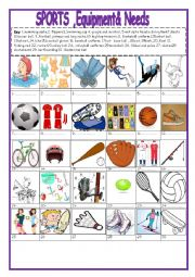 English Worksheet: sports  equipments pictionary