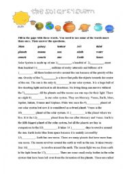 English Worksheet: The Solar System video
