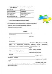 English Worksheet: Ukraine. THE NATIONAL SYMBOLS OF UKRAINE