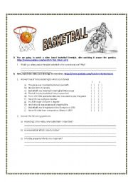 English Worksheet: History of Basketball