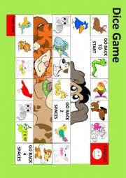 English Worksheet: EASY ANIMAL DICE GAME