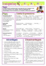 English Worksheet: ESSAY - pros and cons of computers