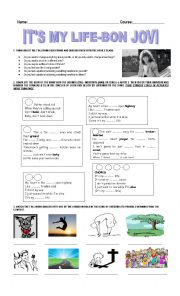 English Worksheet: SONG WORKSHEET: IT�S MY LIFE BY BON JOVI