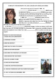 English Worksheet: John Lennon -short biography