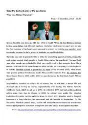 English Worksheet: Reading activity - Nelson Mandela