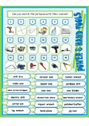 English Worksheet: Power & Hand Tools Worksheet (2)