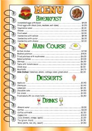 Restaurant Menu for speaking