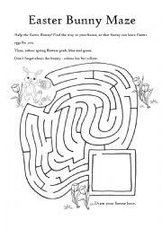 English Worksheet: Easter Bunny Maze