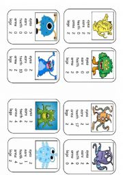 English Worksheet: Monster Body Parts Top Trumps Game Set 5 (8 cards)