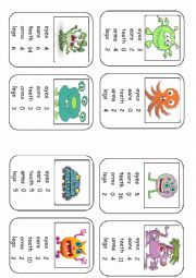 English Worksheet: Monster Body Parts Top Trumps Game Set 2 (8 cards)