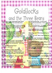 GOLDILOCKS: TALE AND WORKSHEET