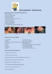 Movie worksheet despicable me