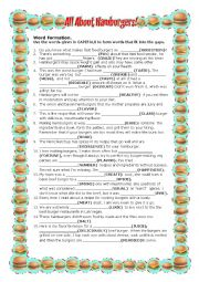 English Worksheet: All About Hamburgers