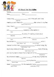 English Worksheet: All About Me Mad Libs