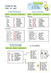 English Worksheet: Present tense VERB TO BE
