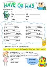 English Worksheet: Using �HAVE� and �HAS�