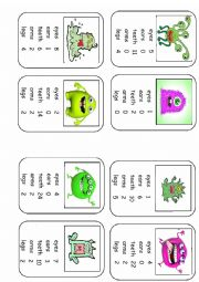 English Worksheet: Monster Body Parts Top Trumps Game Set 3 (8 cards)