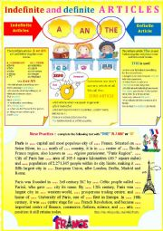 English Worksheet: Gr - Indefinite and definite articles + exercises. + KEY