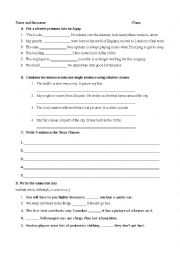 English Worksheet: Adjective, Noun and Adverb Clauses Quiz