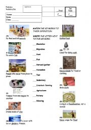 English Worksheet: History: Prehistory Vocabulary