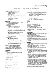 English Worksheets: Catcher in the Rye - Misc. Notes