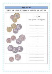 English Worksheet: british coins