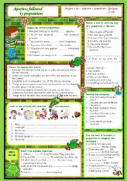 English Worksheet: Adjectives followed by prepositions (2)
