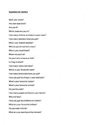 English Worksheet: cambridge starters and movers Oral exam