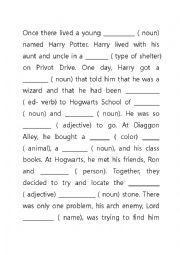 Current image with harry potter mad libs printable