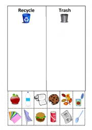 English worksheets: Recycle Cut and Paste