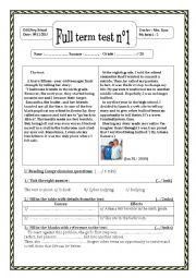 English Worksheet: Full term test n°1 (9th form)