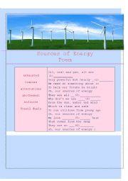 English Worksheet: sources of energy poem