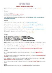 English Worksheet: Indirect Speech ( request,order,ask )