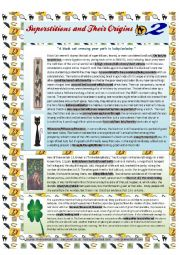 English Worksheet: Superstitions and their Origins - 2